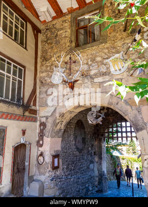 BREGENZ, AUSTRIA - JUNE 24, 2015: The old historic City Gate with a mummified shark in the Upper Town of Bregenz, Austria - Stock Photo