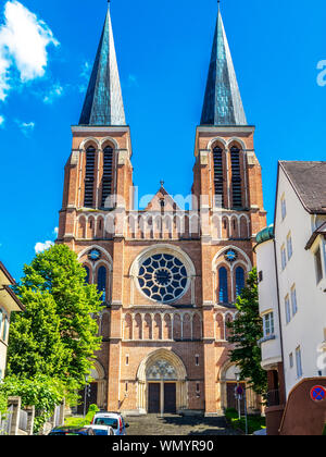 Herz-Jesu-Kirche or Parish Church of the Sacred Heart of Jesus in Bregenz, Austria, exterior facade view - Stock Photo