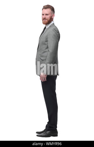 confident businessman looks forward on the copy space. isolated on white - Stock Photo