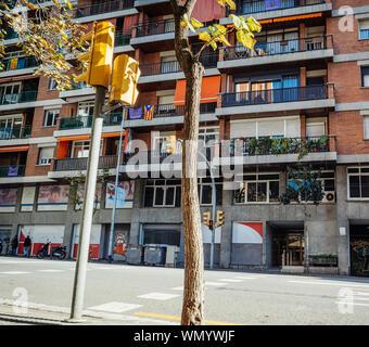 Barcelona, Spain - Nov 13, 2017: City of BArcelona apartment building on major Avenue - Stock Photo
