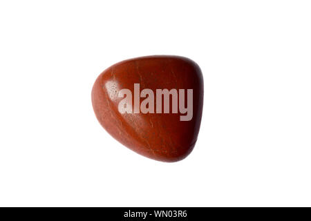 Macro shooting of red Coral mineral or Jasper stone isolated on a white background. - Stock Photo