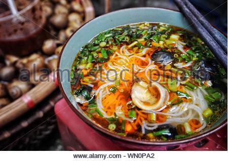 Noodle soup n bowl - Stock Photo