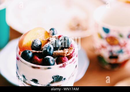 High Angle View Of Fresh Dessert On Table - Stock Photo