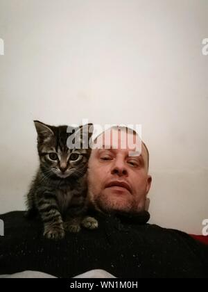 Portrait Of Mid Adult Man With Tabby Kitten Resting Against Wall At Home - Stock Photo