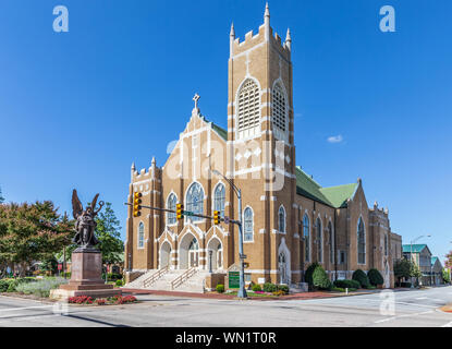 SALISBURY, NC, USA-1 SEPTEMBER 2019: The St. John's Lutheran Church building, located in downtown.  Original sanctuary built in 1927. - Stock Photo