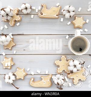 Directly Above Shot Of Christmas Decorations On Table - Stock Photo