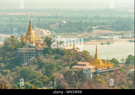 aerial view from the sagaing hill in Mandalay, Myanmar - Stock Photo