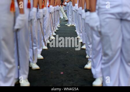 Soldiers Standing In Queue During Event - Stock Photo