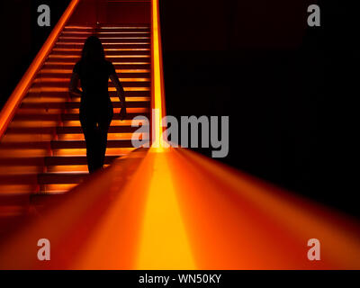 Rear View Of Silhouette Woman Walking On Stairs - Stock Photo