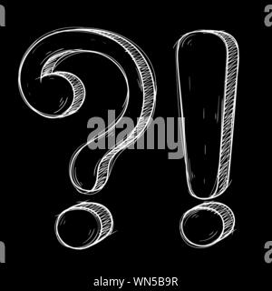 Question and Exlamation marks. Hand drawn doodle style on black background. Vector illustration - Stock Photo