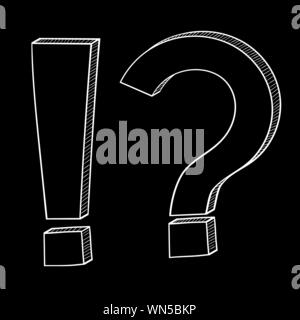 Question and Exlamation marks. Doodle style on black background. Vector illustration - Stock Photo