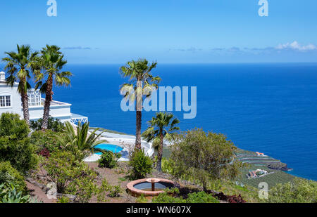 Vacation villa with swimminh pool, La Palma, Canary Islands, Spain, Europe. - Stock Photo