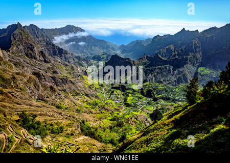 Valley Ribeira do Paúl, Paul Valley, Island Santo Antão, Cape Verde, Cabo Verde, Africa.   Ribeira do Paúl is the most fertile and vegetative valley o - Stock Photo