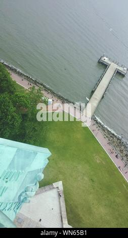 Aerial View Of Pier Over Upper New York Bay Seen From Statue Of Liberty - Stock Photo