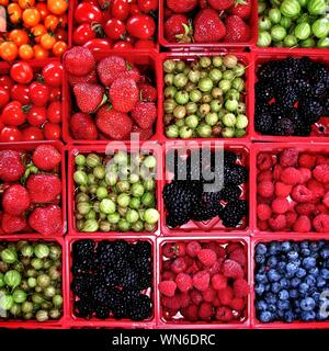Full Frame Shot Of Various Fruits And Vegetables - Stock Photo