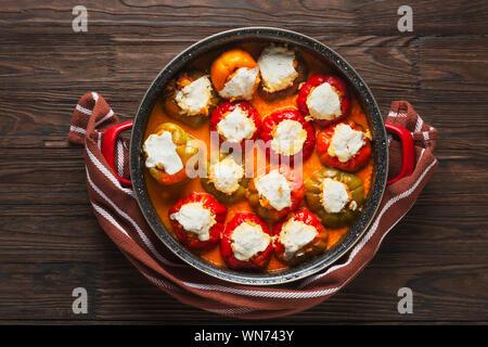 recipe, stuffed poblano peppers, quinoa, he, quinoa stuffed, cream cheese stuffed, ground beef, sweet potato, rice, green peppers - Stock Photo