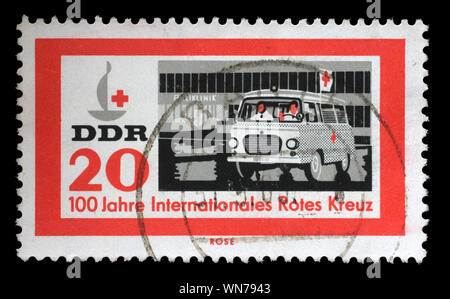 Stamp printed in Germany, Democratic Republic shows Centenary of the Red Cross series, circa 1963. - Stock Photo