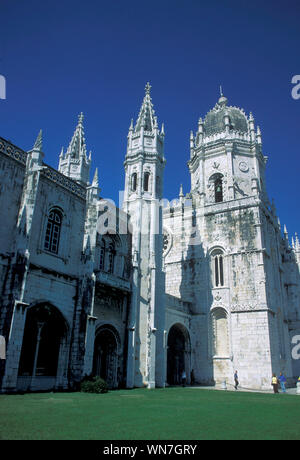 Low Angle View Of Mosteiro Dos Jeronimos Against Clear Sky - Stock Photo