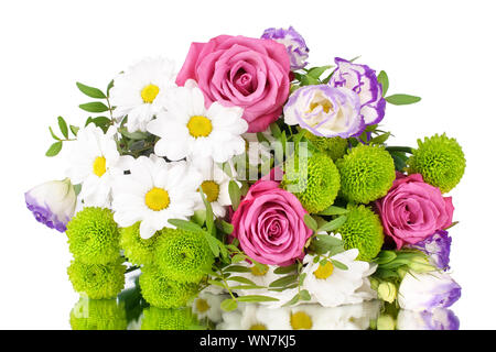 Bouquet of pink roses flowers, white daisies, chrysanthemums, green leaves, white background isolated close up, greeting card, banner, copy space - Stock Photo