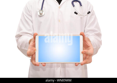 Midsection Of Male Doctor Showing Digital Tablet While Standing Against White Background - Stock Photo