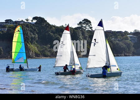 Crews of youngsters getting their RS Feva sailing dinghies ready for training in shallow bay. - Stock Photo