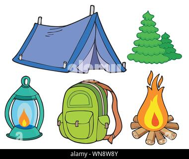 Collection of camping images - Stock Photo