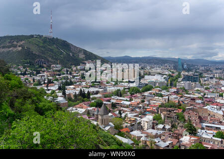 View from the Narikala Fortress of the Tbilisi old and new town in Georgia - Stock Photo