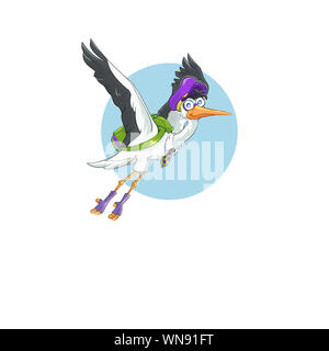 flying stork mascot with green school bag or backpack in sky - Stock Photo