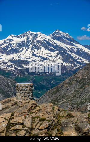 Val d'Isere and viewpoint from, Col de l'Iseran, high pass, summer - Stock Photo