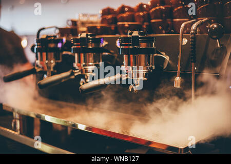 Close-up Of Steam Emitting From Espresso Maker - Stock Photo