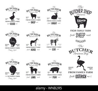 Butcher American Shop labels design set with ostrich, turkey bird, horse, cow, lamb. Farm animals grunge logo templates. Animals silhouettes. Can be used for typography banners, advertising - Stock Photo