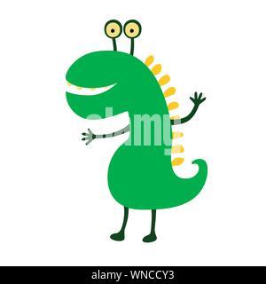 Funny smiling dinosaur. Vector illustration. Cute cartoon character. - Stock Photo