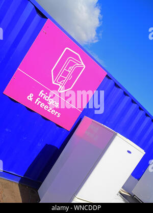 fridges and freezers old electrical appliances (weee) for recycling at council household recycling centre united kingdom - Stock Photo