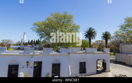 Overview of the historic and colonial center of Colonia del Sacramento with the lighthouse. It is one of the oldest cities in Uruguay. World Heritage - Stock Photo