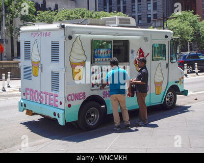 New York, USA - June 18, 2016 - Track selling ice creams in a street of New York - Stock Photo
