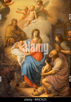 CATANIA, ITALY - APRIL 7, 2018: The painting of Nativity in church Chiesa di San Placido  by Stefano Tofanelli (1750 - 1812). - Stock Photo