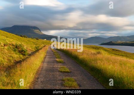 Single track road along Loch Hope, Sutherland - Stock Photo
