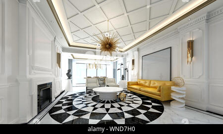 3d render of neo classic home interior - Stock Photo