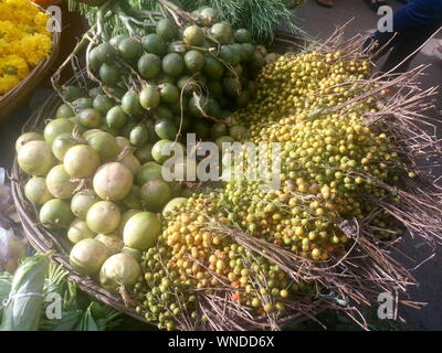 High Angle View Of Various Fruits And Vegetables For Sale At Market - Stock Photo