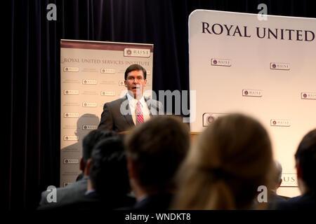London / UK – September 6, 2019: Mark Esper, US Secretary of Defense, speaking at the Royal United Services Institute - Stock Photo