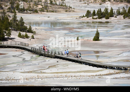 New York, USA. 4th Sep, 2019. People visit the Porcelain Basin in Yellowstone National Park, the United States, Sept. 4, 2019. Credit: Han Fang/Xinhua/Alamy Live News - Stock Photo