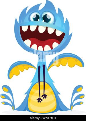Happy cartoon monster. Vector dragon character - Stock Photo