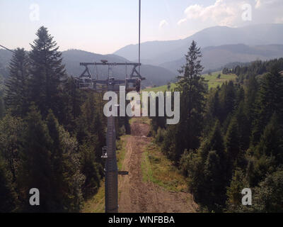 Ski lifts in the summer time in the Tatra Mountains, Slovakia. September 2019. - Stock Photo