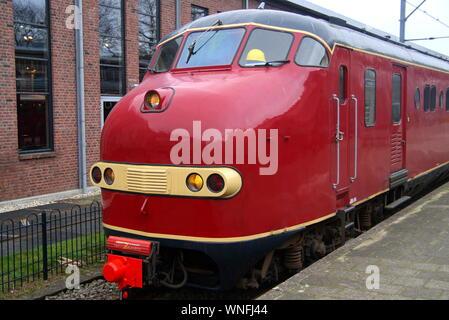 Utrecht, The Netherlands - December 27, 2015: Dutch electric train Materieel '54 (Mat '54), from Nederlandse Spoorwegen (NS). - Stock Photo