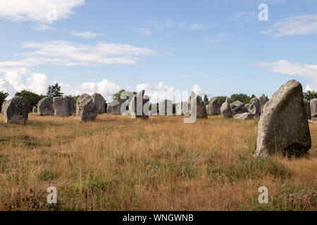 Alignements de Kermario, rows of standing stones - menhirs, Carnac, Brittany, France - Stock Photo