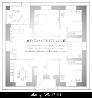 Architectural background. Part of architectural project, architectural plan of a residential building. Black and white vector illustration EPS10 - Stock Photo