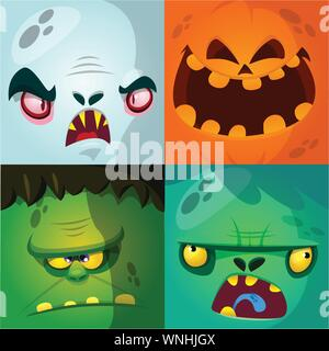 Cartoon monster faces vector set. Cute square avatars and icons. Monster, pumpkin face, vampire, zombie - Stock Photo