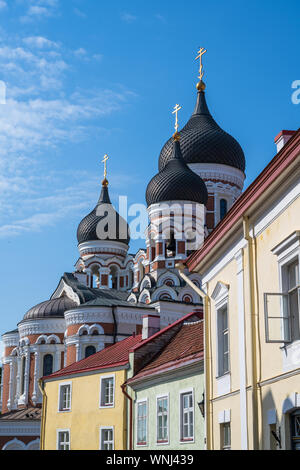 Photo of the Onion Domes of Alexander Nevsky Cathedral in Tallin Estonia. - Stock Photo