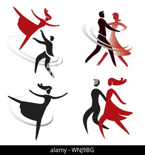 Dance ballet icons. Set of colorful icons with dancing people.Vector available. - Stock Photo