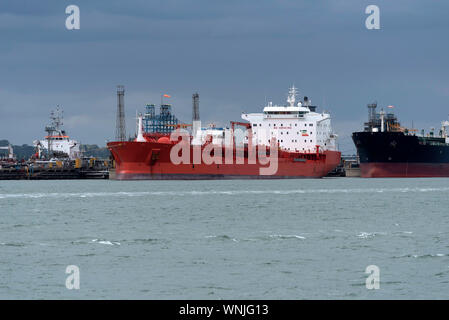 Southampton Water, England, UK, September 2019. Chemical, oil products tanker Bow Fagas off loading cargo at Fawley refinery on Southampton Water, UK - Stock Photo